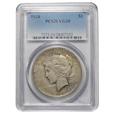 1928 Pcgs VG10 Peace Dollar