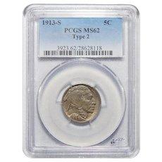 1913-S Type 2 Pcgs MS62 Buffalo Nickel