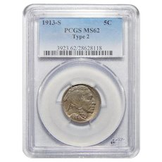1913-S Type 2 Pcgs MS62 Buffalo Nickel