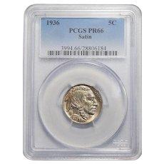 1936 Pcgs Satin PR66 Buffalo Nickel