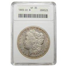 1893-CC Anacs VF35 Morgan Dollar