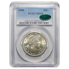 1906 Pcgs/Cac MS65 Barber Half Dollar