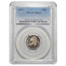 1832 Pcgs MS63 Capped Bust Dime