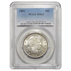 1892 Pcgs MS64 Barber Half Dollar