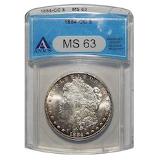 1884-CC Anacs MS63 Morgan Dollar