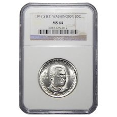 1947-S Ngc MS64 Booker T. Washington Half Dollar Commemorative