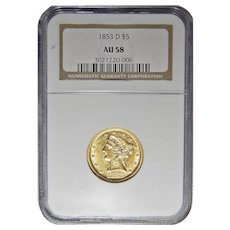 1853-D Ngc AU58 Large D $5 Liberty Head Gold