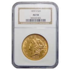 1855-S Ngc AU58 $20 Liberty Head Gold