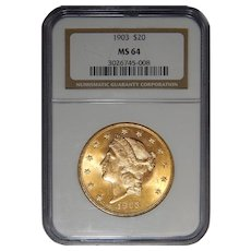 1903 Ngc MS64 $20 Liberty Head Gold