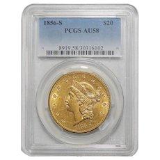 1856-S Pcgs AU58 $20 Liberty Head Gold