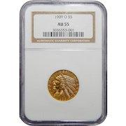 1909-O Ngc AU55 $5 Indian Gold