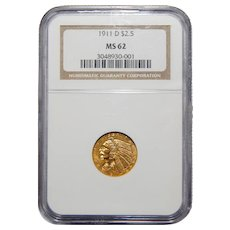 1911-D Ngc MS62 Strond-D $2.50 Indian Gold