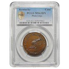 Kentucky Plain Edge Pcgs MS63BN Cent