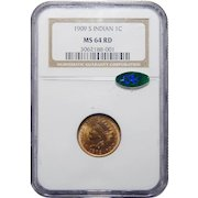 1909-S Ngc/Cac MS64RD Indian Cent
