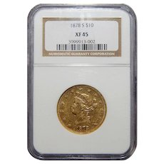 1878-S Ngc XF45 $10 Liberty Head Gold