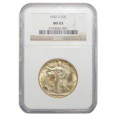 1942-D Ngc MS65 Walking Liberty Half Dollar
