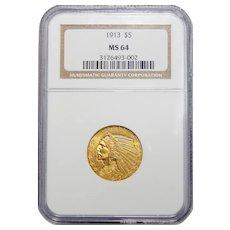 1913 Ngc MS64 $5 Indian Gold