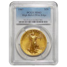 1907 PcgsMS63 $20 High Relief-Wire Edge St Gaudens