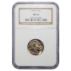 1937-D Ngc MS65 Buffalo Nickel