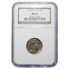 1913-D Ngc MS64 Type 2 Buffalo Nickel