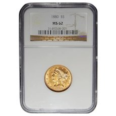 1880 Ngc MS62 $5 Liberty Head Gold