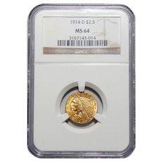 1914-D Ngc MS64 $2.50 Indian Gold