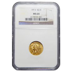 1913 Ngc MS64 $2.50 Indian Gold