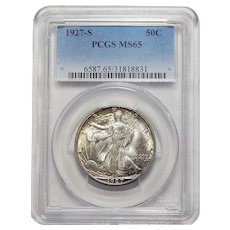 1927-S Pcgs MS65 Walking Liberty Half Dollar