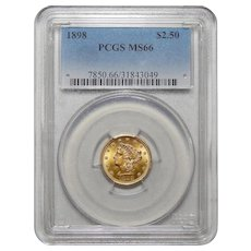 1898 Pcgs MS66 $2.50 Liberty Head Gold