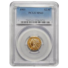 1911 Pcgs MS61 $2.50 Indian Gold