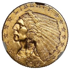 1914-D Ngc MS65 $2.50 Indian Gold