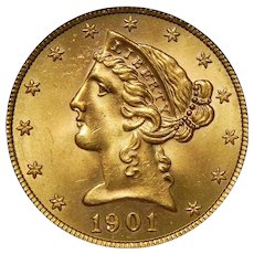 1901/0-S Ngc MS66 $5 Liberty Head Gold