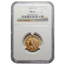1909-D Ngc MS62 $5 Indian Gold
