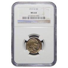 1919-D Ngc MS64 Buffalo Nickel