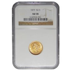 1879 Ngc AU58 $2.50 Liberty Head Gold