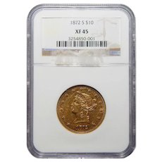 1872-S Ngc XF45 $10 Liberty Head Gold