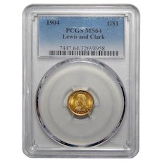 1904 Pcgs MS64 $1 Lewis and Clark Gold