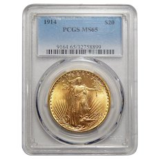 1914 Pcgs MS65 $20 St Gauden