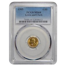 1905 Pcgs MS64 $1 Lewis and Clark Gold