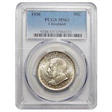 1936 Pcgs MS63 Cleveland Half Dollar
