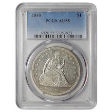 1840 Pcgs AU55 Liberty Seated Dollar