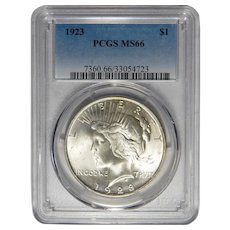 1923 Pcgs MS66 Peace Dollar