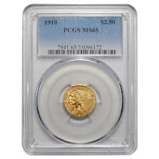 1910 Pcgs MS65 $2.50 Indian Gold