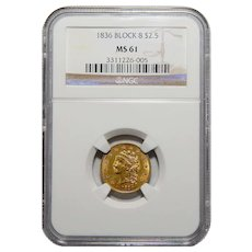 1836 Ngc MS61 Block 8 $2.50 Liberty Head Gold