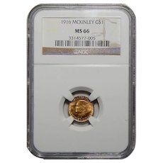 1916 Ngc MS66 $1 McKinley Gold