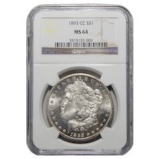 1893-CC Ngc MS64 Morgan Dollar