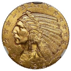 1915 Ngc MS64 $5 Indian Gold