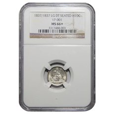 1837 Ngc MS66+ No Stars, Large Date Liberty Seated Half Dime