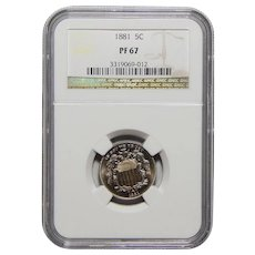 1881 Ngc PF67 Shield Nickel