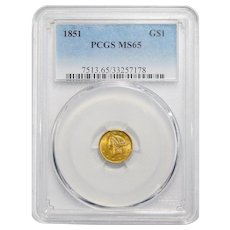 1851 Pcgs MS65 $1 Gold